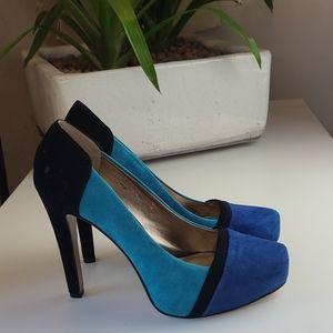BCBG 💙Blue Suede Stiletto Platform Heels 💙